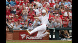 St. Louis Cardinals' Tommy Edman scores during the second inning of a baseball game against the Colorado Rockies Sunday, Aug. 25, 2019, in St. Louis. (AP Photo/Jeff Roberson)