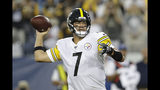 Pittsburgh Steelers quarterback Ben Roethlisberger passes against the Tennessee Titans in the first half of a preseason NFL football game Sunday, Aug. 25, 2019, in Nashville, Tenn. (AP Photo/James Kenney)