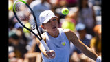 Simona Halep, of Romania, hits a volley during practice for the U.S. Open tennis tournament Saturday, Aug. 24, 2019, in New York. (AP Photo/Eduardo Munoz Alvarez)