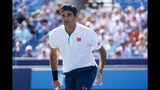 FILE - In this Aug. 15, 2019, file photo, Roger Federer, of Switzerland, reacts during a match against Andrey Rublev, of Russa, during the quarterfinals of the Western & Southern Open tennis tournament in Mason, Ohio. Federer heads into the U.S. Open with only one match victory during his preparation. That is just one many reasons why this U.S. Open is as unpredictable as any as it begins Monday, Aug. 26, 2019. (AP Photo/John Minchillo, File)