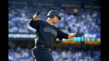 New York Yankees' Mike Ford celebrates as he rounds first after hitting a solo home run during the sixth inning of a baseball game against the New York Yankees Sunday, Aug. 25, 2019, in Los Angeles. (AP Photo/Mark J. Terrill)