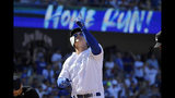 Los Angeles Dodgers' Joc Pederson gestures as he scores after hitting a solo home run during the first inning of a baseball game against the New York Yankees, Sunday, Aug. 25, 2019, in Los Angeles. (AP Photo/Mark J. Terrill)