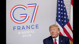 President Donald Trump speaks during a bilateral meeting with Egyptian President Abdel Fattah al-Sissi at the G-7 summit in Biarritz, France, Monday, Aug. 26, 2019. (AP Photo/Andrew Harnik)
