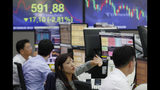 A currency trader gestures at the foreign exchange dealing room of the KEB Hana Bank headquarters in Seoul, South Korea, Monday, Aug. 26, 2019. Asian shares tumbled Monday after the latest escalation in the U.S.-China trade war renewed uncertainties about global economies, as well as questions over what U.S. President Donald Trump might say next. (AP Photo/Ahn Young-joon)