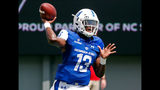 FILE - In this Sept. 8, 2018, file photo, Georgia State quarterback Dan Ellington passes during the first half of an NCAA college football game in Raleigh, N.C. Georgia State plays at Tennessee on Saturday. (AP Photo/Chris Seward, File)