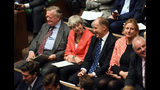 In this handout photo provided by the House of Commons, former Prime Minister Theresa May, second left, looks on during Boris Johnson's first Prime Minister's Questions, in the House of Commons in London, Wednesday, Sept. 4, 2019. Britain's Parliament is facing a second straight day of political turmoil as lawmakers fought Prime Minister Boris Johnson's plan to deliver Brexit in less than two months, come what may. Johnson is threatening to dissolve the House of Commons and hold a national election that he hopes might produce a less fractious crop of legislators. (Jessica Taylor/House of Commons via AP)