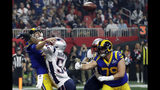FILE - In this Feb. 3, 2019, file photo, New England Patriots' Dont'a Hightower (54) hits Los Angeles Rams' Jared Goff, left, as he throws a pass during the second half of the NFL Super Bowl 53 football game in Atlanta. The Panthers will look to pressure Jared Goff similar to how the Patriots did in a 13-3 win over the Rams in Super Bowl 50. (AP Photo/David J. Phillip, File)