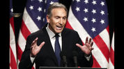 FILE - In this Feb. 7, 2019, file photo, former Starbucks CEO Howard Schultz speaks at Purdue University in West Lafayette, Ind. On Friday, Sept. 6, 2019, in a letter, Schultz says he's no longer considering an independent presidential bid. (AP Photo/Michael Conroy, File)