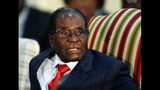 FILE - In this Oct. 3, 2017 file photo, Zimbabwean President Robert Mugabe during a meeting with South African President Jacob Zuma at the Presidential Guesthouse in Pretoria, South Africa. On Friday, Sept. 6, 2019, Zimbabwe President Emmerson Mnangagwa said his predecessor Robert Mugabe, age 95, has died. (AP Photo/Themba Hadebe, FILE)