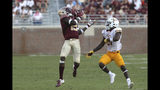 Florida State's Tamorrion Terry, left, tries to pull in a pass against Louisiana-Monroe's Corey Straughter in the third quarter of an NCAA college football game Saturday, Sept. 7, 2019, in Tallahassee Fla. (AP Photo/Steve Cannon)