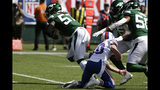 New York Jets inside linebacker C.J. Mosley (57) runs back and interception for a touchdown during the first half of an NFL football gameas Buffalo Bills' Cole Beasley (10) watches Sunday, Sept. 8, 2019, in East Rutherford, N.J. (AP Photo/Seth Wenig)
