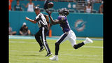 Baltimore Ravens wide receiver Marquise Brown (15) grabs a pass for a touchdown, during the first half at an NFL football game against the Miami Dolphins, Sunday, Sept. 8, 2019, in Miami Gardens, Fla. (AP Photo/Wilfredo Lee)