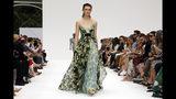 The Carolina Herrera collection is modeled during Fashion Week, in New York, Monday, Sept. 9, 2019. (AP Photo/Richard Drew)