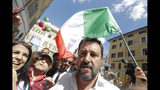 The League's leader Matteo Salvini attends a demonstration with far-right party Brothers of Italy against the 5-Star and Democratic party coalition government outside the Lower Chamber, in Rome, Monday, Sept. 9, 2019. Conte is pitching for support in Parliament for his new left-leaning coalition ahead of crucial confidence votes. (AP Photo/Andrew Medichini)