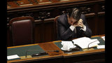 Italian Premier Giuseppe Conte sits as he attends the parliament debate ahead of confidence vote later at the Lower Chamber in Rome, Monday, Sept. 9, 2019. Conte is pitching for support in Parliament for his new left-leaning coalition ahead of crucial confidence votes. (AP Photo/Gregorio Borgia)