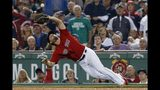 Boston Red Sox's Sam Travis catches a pop out by New York Yankees' Edwin Encarnacion during the sixth inning of a baseball game in Boston, Monday, Sept. 9, 2019. (AP Photo/Michael Dwyer)