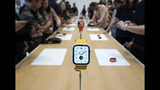 The new iWatch 5 was on display for the event attendees during an event announcement of the new Apple products Tuesday, Sept. 10, 2019, in Cupertino, Calif. (AP Photo/Tony Avelar)