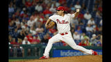 Philadelphia Phillies' Jason Vargas pitches during the third inning of a baseball game against the Atlanta Braves, Tuesday, Sept. 10, 2019, in Philadelphia. (AP Photo/Matt Slocum)