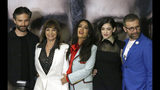 """Mexican actress and producer Salma Hayek, center, poses for pictures with, from left, Osvaldo Bernavides, Rosa Maria Bianchi, Irene Azule and Juan Manuel Bernal during a news conference promoting her new movie """"Monarca"""" in Mexico City, Tuesday, Sept. 10, 2019. Hayek is a native of Veracruz, Mexico. (AP Photo/Marco Ugarte)"""
