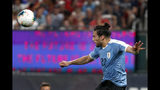 Uruguay's Martin Caceres heads the ball during the second half of a friendly soccer match against the United States Tuesday, Sept. 10, 2019, in St. Louis. The game ended in a 1-1 tie. (AP Photo/Jeff Roberson)