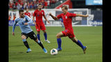 United States' Paxton Pomykal, right, controls the ball as Uruguay's Nahitan Nandez (8) defends during the second half of a friendly soccer match Tuesday, Sept. 10, 2019, in St. Louis. The game ended in a 1-1 tie. (AP Photo/Jeff Roberson)