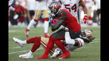 San Francisco 49ers cornerback Richard Sherman (25) tackles Tampa Bay Buccaneers wide receiver Chris Godwin (12) during the second half an NFL football game, Sunday, Sept. 8, 2019, in Tampa, Fla. (AP Photo/Mark LoMoglio)