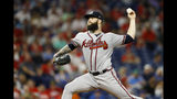 Atlanta Braves' Dallas Keuchel pitches during the third inning of the team's baseball game against the Philadelphia Phillies, Wednesday, Sept. 11, 2019, in Philadelphia. (AP Photo/Matt Slocum)