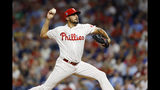 Philadelphia Phillies' Zach Eflin pitches during the third inning of the team's baseball game against the Atlanta Braves, Wednesday, Sept. 11, 2019, in Philadelphia. (AP Photo/Matt Slocum)