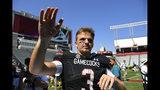 South Carolina quarterback Ryan Hilinski waves to fans after an NCAA college football game against Charleston Southern, Saturday, Sept. 7, 2019, in Columbia, S.C. South Carolina won 72-10. (AP Photo/John Amis)