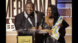 Michael and Tanya Trotter, of the duo The War and Treaty, accept the Emerging Act of the Year Award during the Americana Honors & Awards show Wednesday, Sept. 11, 2019, in Nashville, Tenn. (AP Photo/Wade Payne)
