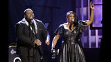 Michael and Tanya Trotter, of the duo The War and Treaty, perform during the Americana Honors & Awards show Wednesday, Sept. 11, 2019, in Nashville, Tenn. (AP Photo/Wade Payne)