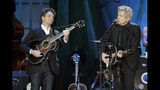 Joe Henry, left, and Rodney Crowell perform during the Americana Honors & Awards show Wednesday, Sept. 11, 2019, in Nashville, Tenn. (AP Photo/Wade Payne)