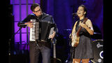 Francesco Turrisi, left, and Rhiannon Giddens perform during the Americana Honors & Awards show Wednesday, Sept. 11, 2019, in Nashville, Tenn. (AP Photo/Wade Payne)