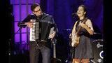 Francesco Turrisi, left, and Rhiannon Giddens perform during the Americana Honors & Awards show Wednesday, Sept. 11, 2019, in Nashville, Tenn. (AP Photo/Wade Payne)
