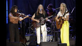 Sara Watkins, from left, Sarah Jarosz, and Aoife O'Donovan, of I'm With Her, performs at the Americana Honors & Awards show Wednesday, Sept. 11, 2019, in Nashville, Tenn. (AP Photo/Wade Payne)