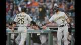 Pittsburgh Pirates' Kevin Newman (27) congratulates Adam Frazier (26) after he scored on a single by Kevin Kramer against the San Francisco Giants during the second inning of a baseball game Wednesday, Sept. 11, 2019, in San Francisco. (AP Photo/Tony Avelar)