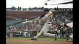 Pittsburgh Pirates' Kevin Kramer (44) hits a single to drive in a run against the San Francisco Giants during the second inning of a baseball game Wednesday, Sept. 11, 2019, in San Francisco. (AP Photo/Tony Avelar)