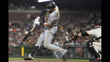 Pittsburgh Pirates' Colin Moran hits a single against the San Francisco Giants during the fifth inning of a baseball game Wednesday, Sept. 11, 2019, in San Francisco. (AP Photo/Tony Avelar)