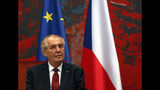 Czech Republic's president Milos Zeman listens to his Serbian counterpart Aleksandar Vucic during a meeting at the Serbia Palace in Belgrade, Serbia, Wednesday, Sept. 11, 2019. Zeman is on a two-day official visit to Serbia. (AP Photo/Darko Vojinovic)
