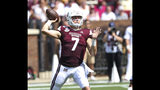 Mississippi State quarterback Tommy Stevens (7) throws a pass in the first half of an NCAA college football game against Southern Mississippi Saturday, Sept. 7, 2019, in Starkville, Miss. (AP Photo/Jim Lytle)