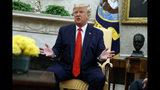 El presidente Donald Trump habla en la Oficina Oval de la Casa Blanca, el miércoles 11 de septiembre de 2019, en Washington. (AP Foto/Evan Vucci)