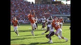 Clemson's Tanner Muse (19) makes an interception during the second half of an NCAA college football game against Texas A&M Saturday, Sept. 7, 2019, in Clemson, S.C. (AP Photo/Richard Shiro)