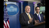 Secretary of State Mike Pompeo and Treasury Secretary Steve Mnuchin answer questions during a briefing on terrorism financing at the White House Tuesday, Sept. 10, 2019, in Washington. (AP Photo/Alex Brandon)