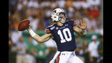 Auburn quarterback Bo Nix throws a pass during the first quarter of the team's NCAA college football game against Tulane, Saturday, Sept. 7, 2019, in Auburn, Ala. (AP Photo/Butch Dill)