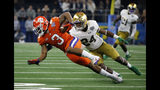 FILE - In this Saturday, Dec. 29, 2018 file photo, Clemson wide receiver Amari Rodgers (3) stretches out for extra yardage after catching a pass as Notre Dame safety Nick Coleman (24) defends in the first half of the NCAA Cotton Bowl semi-final playoff football game in Arlington, Texas. Amari Rodgers was about the only one around Clemson last March who thought he wouldn't miss most of the season after tearing the anterior cruciate ligament in his right knee. (AP Photo/Michael Ainsworth, File)