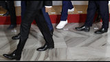 Albanian Prime Minister Edi Rama, wearing sport shoes, arrives for the V4+West Balkan summit in Prague, Czech Republic, Thursday, Sept. 12, 2019. (AP Photo/Petr David Josek)