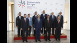 Macedonian Prime Minister Zoran Zaev, (top row left to right), Prime Minister of Serbia Ana Brnabic, Chairman of the Council of Ministers of Bosnia and Herzegovina Denis Zvizdic, Albanian Prime Minister Edi Rama, Prime Minister of Montenegro Dusko Markovic, and Kosovo's Ambassador to Czech Republic Arber Vllahiu, (bottom row left to right) Prime Ministers of Slovakia Peter Pellegrini Poland Mateusz Morawiecki, Czech Republic Andrej Babis and Hungary Viktor Orban pose for a photo during V4+West Balkan summit in Prague, Czech Republic, Thursday, Sept. 12, 2019. (AP Photo/Petr David Josek)
