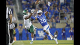 Kentucky defensive back Brandin Echols (26) blocks the catch of Eastern Michigan wide receiver Quian Williams (81) during the second half of an NCAA college football game between Kentucky and Eastern Michigan, Saturday, Sept. 7, 2019, in Lexington, Ky. (AP Photo/Bryan Woolston)