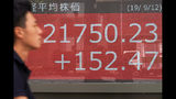 A man walks past an electronic stock board showing Japan's Nikkei 225 index at a securities firm in Tokyo Thursday, Sept. 12, 2019. Asian shares were mixed Thursday after China moved to ease trade tensions. (AP Photo/Eugene Hoshiko)