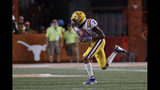 LSU wide receiver Justin Jefferson (2) catches a pass and runs for a touchdown against Texas during the second half of an NCAA college football game Saturday, Sept. 7, 2019, in Austin, Texas. (AP Photo/Eric Gay)
